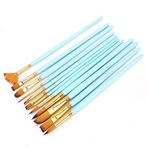 Bolígrafo de dibujo, 12 piezas, pincel de pintura artística, bolígrafo para artistas principiantes para acrílico(12 matte blue rods)