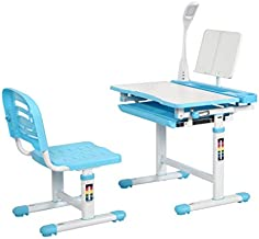 Diroan Kids Functional Desk and Chair Set, Height Adjustable Children School Study Desk with Tilt Desktop, Bookstand, LED Light, Metal Hook and Storage Drawer for Boys Girls (Blue)