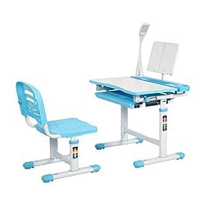 Diroan Kids Functional Desk and Chair Set, Height Adjustable Children School Study Desk with Tilt Desktop, Bookstand…