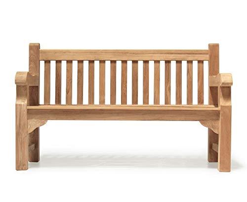 Gladstone Teak Park 3 Seater Garden Bench 1.5m - 5ft Garden Bench - Jati...