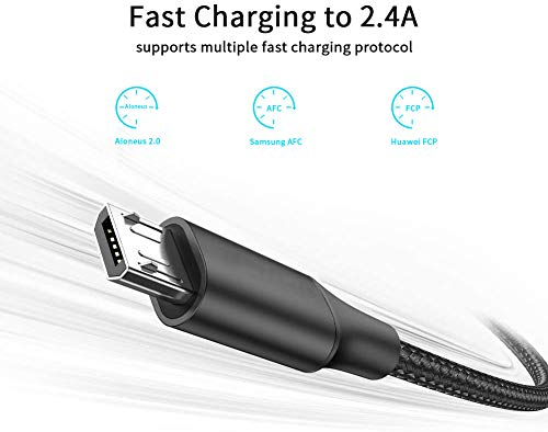 Micro USB Kabel, Aioneus USB LadeKabel 2M Nylon High Speed Android Handy Kabel Micro USB Schnellladekabel für Samsung Galaxy S7 S6 S5 J7 J5 J3 Note5, Tablet, Huawei, Sony, HTC, Xiaomi, LG, PS4