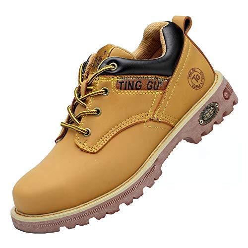 Ting Gu Toe en Acier Bottes de sécurité pour Hommes Chaussures de Travail en Cuir Industriel et Construction Indestructible Protéger Les Chaussures de Travail (42 EU, Jaune Low)