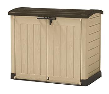 Keter Store It Arc - Cobertizo de Jardín Exterior, Capacidad 1200 litros, Color topo y beige