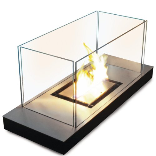 Uni Flame schwarz 1,7 L gebürsteter Edelstahl Ethanol-Kamin - 544 a