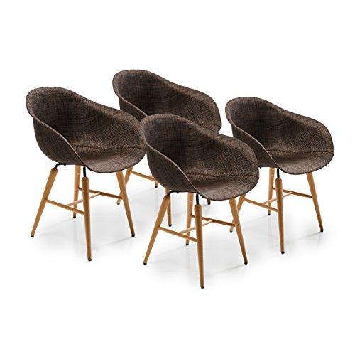 Kare Design Forum Wood Brown 4er Set, moderner Esszimmerstuhl im Retro-Design mit Armlehne, Braun (H/B/T) 79x60,5x53cm