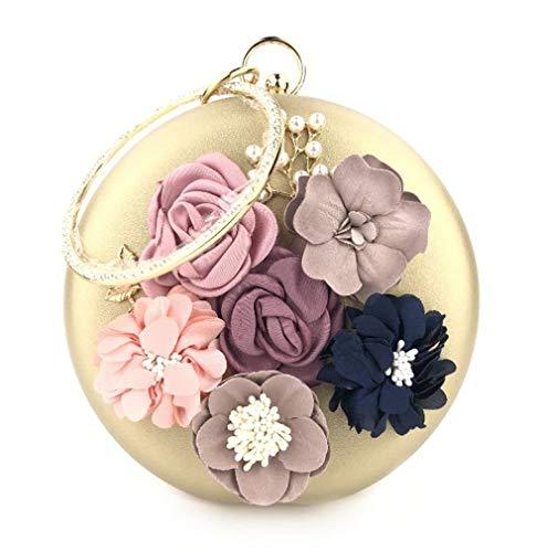 Trayosin Multi-Color Runde Handgemachte dreidimensionale Blume Strass Handschellen Damen Bankett Tasche Clutch Handgemachte (Gold)