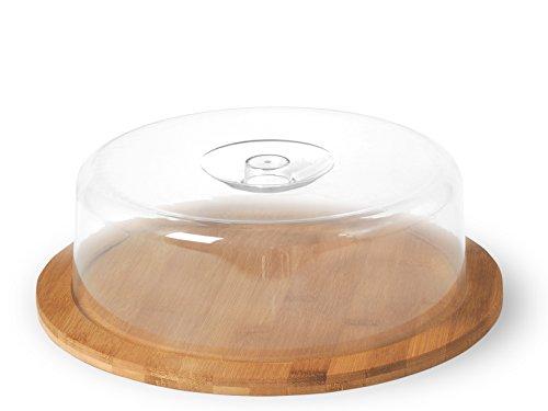 H&H Porta Formaggio con Base in Bamboo, Plastica, Trasparente