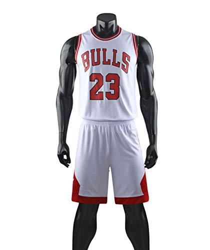 HS-XP Traje De Camiseta De Baloncesto para Hombre-Jordan Bulls # 23 Jersey De Manga Corta Camiseta De Chaleco De Uniforme De Ventilador, Blanco, 2XL (Adulto) 170~175cm