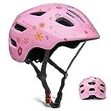 GLAF ヘルメット こども用 自転車 ヘルメット 1-8歳 頭囲 46~54cm 子供用 キッズ 超高耐衝撃性 耐久性 軽量 サイクリング スケートボード ローラースケート 幼児 小学生 (花, S(50~54cm))