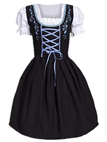 TEBAISE Oktoberfest Blau Trachtenkleid Dirndlbluse Schürze Dirndl Bluse Kleid丨3 teiliges Trachtenkleid Set+mit Trachtenstrümpfe Bows Stockings Fancy Dress Costume Accessories(Blau,M)