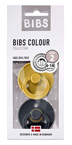 BIBS Schnuller Colour 2er Pack, Naturkautschuk, dänische Schnuller mit Kirschform (Mustard/Dark Denim, Größe 2 (6-18 Monate))