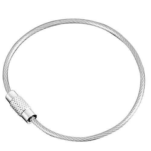 XZANTE 10Pcs Porte-Clés EDC Coloré Mousqueton en Acier Inoxydable Porte-Clés Outils D'Extérieur Corde Cable De Porte-Clés Fil Porte-Clés De Verrouillage à Vis