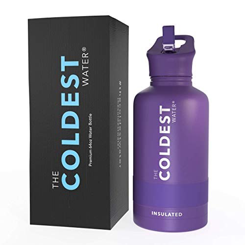 The Coldest Water Bottle - 32 oz, 64 oz Sports Wide Mouth Hot Cold, Modern Double Walled, Simple Thermo Mug, Hydro Metal Canteen Cold 36+ Hrs (Purple, 64 oz Wide Mouth)