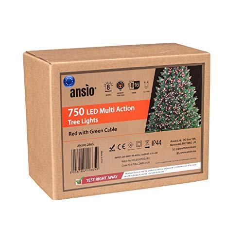ANSIO Árbol de Navidad Luces 750 LED 18,75m Rojo Luces interiores/exteriores Decoraciones Luces de cuerda de hadas Alimentación principal 61 pies Longitud encendida Cable verde