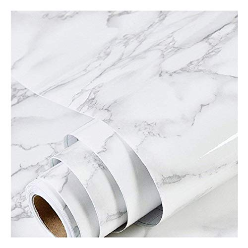 Marble Paper Granite Gray/White Wallpaper Roll (24' x 118') Kitchen Countertop Cabinet Furniture is Renovated Thick PVC Easy to Remove Without Leaving Glue Upgrade