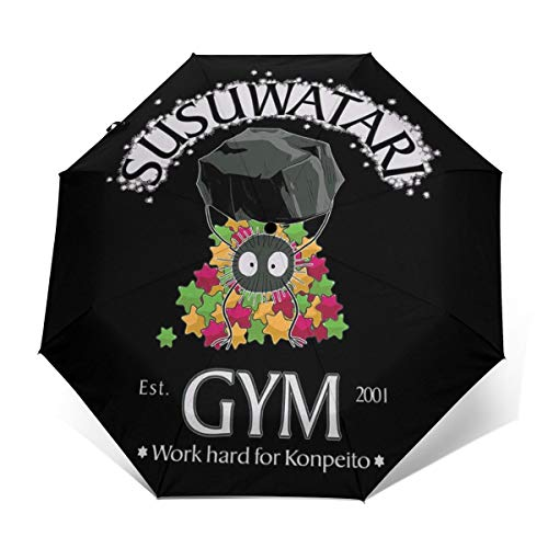Suswatari Gym Soot Sprite Spirited Away Windproof Compact Auto Open And Close Folding Umbrella,Automatic Foldable Travel Parasol Umbrella