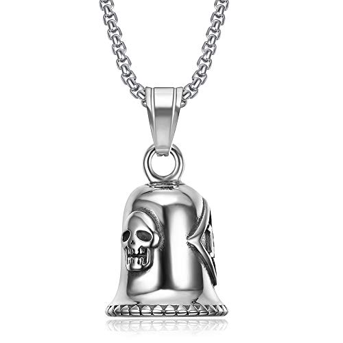 Stainless Steel Punk Rock Locomotive Wind Bell Skull Pendant Necklace Number 13 Skull Necklaces Jewelry Gift For Him 60cm