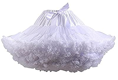 Colyanda Womens 3-Layered Pleated Tulle Petticoat Tutu Puffy Party Cosplay Skirt(White)