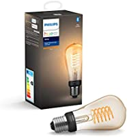 Philips Hue White Filament Single Smart LED ST64 Bulb [E27 Edison Screw] with Bluetooth, Works with Alexa, Google...