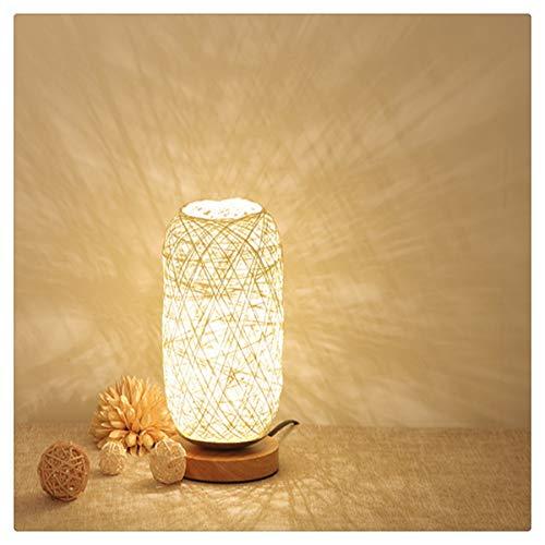 Bambus Rattan Schlafzimmer Nacht Persönlichkeit Dekoration Kreative Dimmbare LED Nachtlicht Massivholz Hanf Rattan Ball Tischlampe