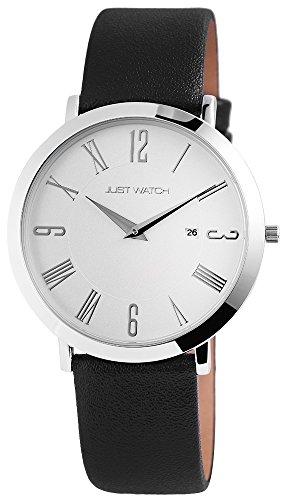 Just Watch Willow Unisex-Uhr Echt Leder oder Edelstahl Datum Analog Quarz JW20003 (schwarz)