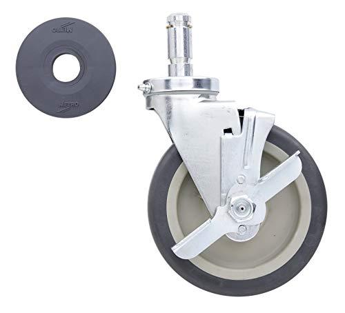 """METRO 6MPB 6"""" Polyurethane Swivel/Brake Stem Caster for Super Erecta Industrial Wire Shelving Racks"""