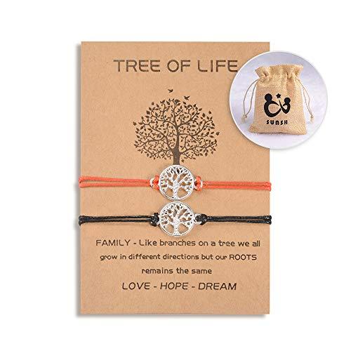 SUNSH 2 piezas de pulseras de árbol de la vida para parejas, mujeres, adolescentes, niñas, distancia ajustable, a juego, joyería de la amistad, pulsera de cadena, negro, rojo
