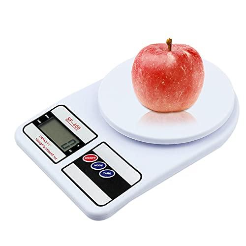 Bilancia da cucina Digitale, elettronica Bilancia da cucina con display LCD retroilluminato e funzioni di tara 10 kg Bilancia da cucina ad alta precisione per la Casa e la Cucina (senza batteria)