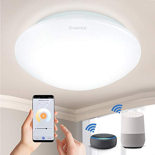 Anten Smart LED Lámpara de techo regulable 24W, 1920lúmenes, temperatura de color 3000~6500K, Ø27cm plafón LED WiFi compatible con Alexa, Google Home, controlable mediante aplicación y control por voz