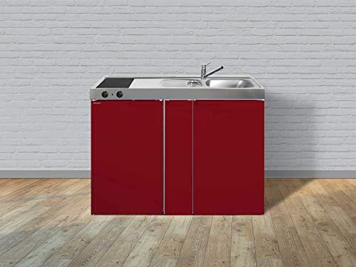 Stengel Miniküche Kitchenline MK 120 A kleine Küchenzeile mit Kühlschrank, Ausziehschrank und Kochfeld, Pantryküche, Kompaktküche - Farbe: bordeauxrot/Breite: 120cm