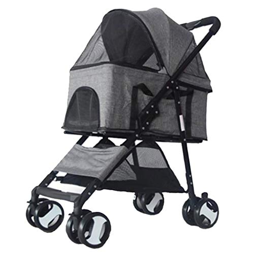 Kays Outing Pet Dog Cat Pram Folding Buggy Light Jogger Removable Cart Washable Oxford Cloth Bag 4 Wheels Medium Size - Grey