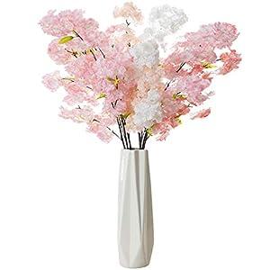 FagusHome 40″ Artificial Cherry Blossom Flowers no Vase 4Pcs Silk Peach Flowers Silk Spring Peach Blossom Fake Flowers Arrangements for Home Wedding Decoration