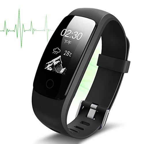 L.Atsain La Actividad id107 Plus Fitness Tracker Tracker Monitor de Ritmo cardiaco inalambrico Bluetooth Inteligente Impermeable Reloj Pulsera, Aptitud para Android & iOS (Negro)