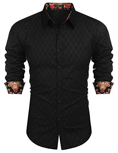 COOFANDY Herren Bussiness Hemd Bügelfreies Hemd mit geradem Schnitt Regular Fit Langarm Kent-Kragen