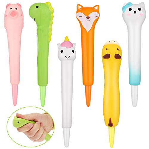 6 Pieces Kawaii Gel Ink Pen Squishy Cute Pens Cute Cartoon Animal Gel Ink Pens Sponge Pens Cartoon School Classroom Stationery for Students Kids