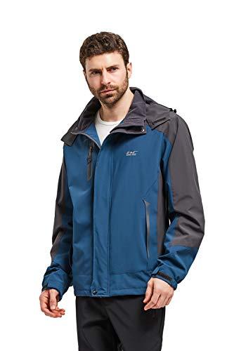 Men Casual Hooded Rain Jacket-Diamond Candy lightweight Waterproof Softshell Raincoat Outdoor Sportswear, Dark Blue, XL