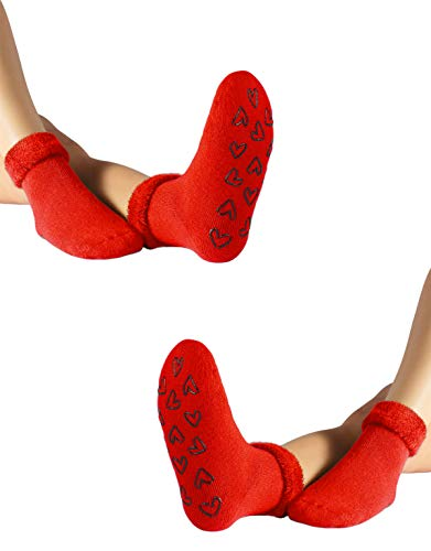 CALZITALY Bunte Damen Warme Socken Angora Effekt | Einheitsgröße | Made in Italy (2 X Rot)