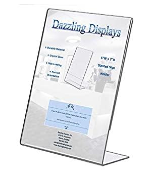 Dazzling Displays Clear 5 x 7 Slanted Sign Holders  3
