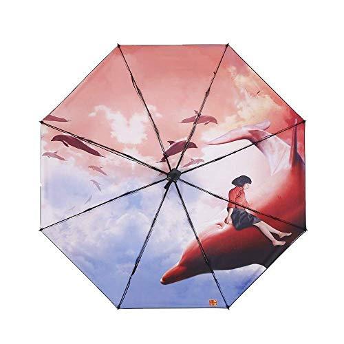 Y-S Taschenschirme Sonnenschirm Regenschirm Big Fish Begonia Animation Druck Sonnencreme Uv-Schutz Regen und Sonnenschein Regenschirm b, b
