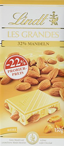 Lindt Les Grandes Mandel, Promotion, weiße Schokolade mit Mandeln, 3er Pack (3 x 150 g)