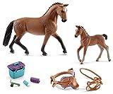 Kit de 4 en 1 pour Chevaux Horse Club - Hannoveraner Stute avec poulailler + Selle, Ourlet et kit d'entretien 13817 + 13818 + 42165 + 42366