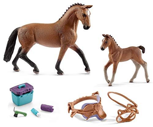 4in1-SET Schleich Pferde Horse Club - Hannoveraner Stute mit Fohlen + Sattel Zaumzeug und Pflegeset 13817 + 13818 + 42165 + 42366