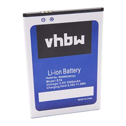 vhbw batteria compatibile con HomTom S16 smartphone cellulare (3000mAh, 3,8V, Li-Ion)