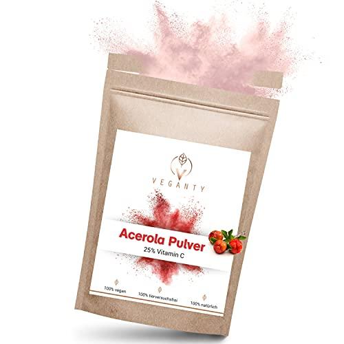 VEGANTY® Natürliches Vitamin C hochdosiert - Pulver aus der Acerola Kirsche - 1000mg Acerola Pulver - Vorrat für 10 Monate - Vitamin C Pulver - Vegan