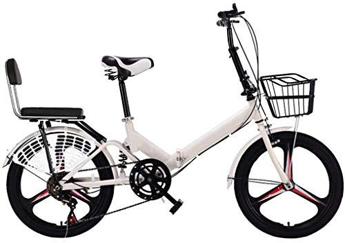 20 Pulgadas Bicicleta Bici Ciudad Plegables Adulto Hombre Mujer, Bicicleta de Montaña Btt MTB Ligero Folding Mountain City Bike Doble Suspension Bicicleta Urbana Portátil, H097ZJ