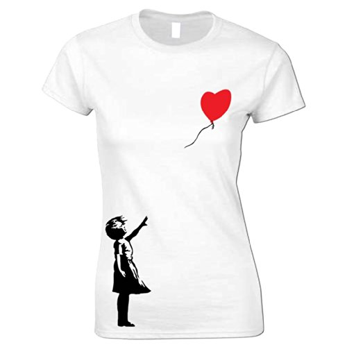 Damen T-Shirt Banksy Luftballon Mädchen Weiß L