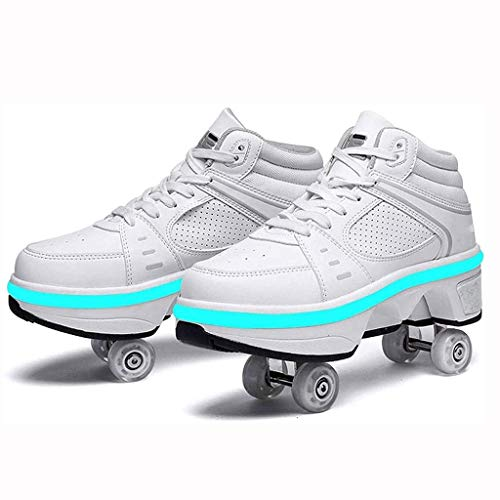 BDXZJ Unisex Automática de Skate Zapatillas con Ruedas Doble Rodillo Zapatos de Skate Zapatos Invisible de Polea de Zapatos de Doble Propósito con Luces LED de Colores