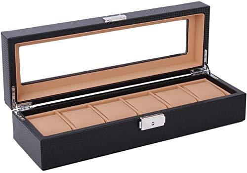 Caja de reloj marrón con 6 ranuras para relojes, caja de almacenamiento con tapa de cristal con cerradura, piel sintética, para hombres y mujeres