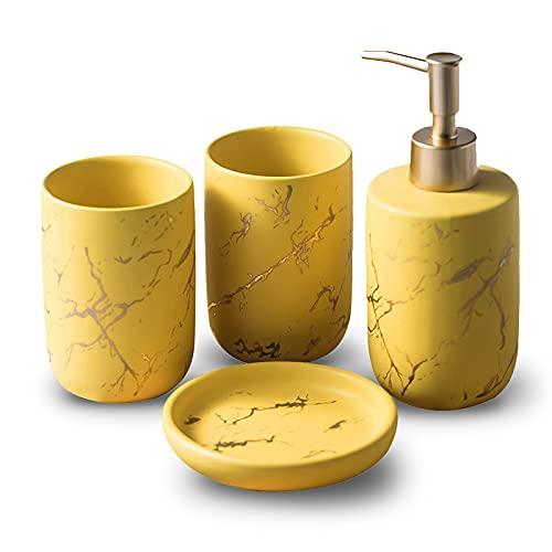BQSWYD Set Accessori Bagno in Ceramica 4 Pezzi, Set di 4 Accessori per Il Bagno Set da Bagno Portaspazzolino, Portasapone, Distributore di Lozione e Bicchiere per Spazzolino Set Bagno (Yellow)