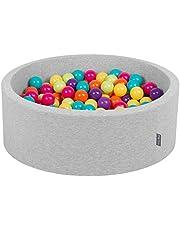 KiddyMoon Suchy Basen 90x30cm z Piłkami ∅ 7cm, Okrągły Miękki Basen dla Dzieci z Kolorowymi Kulkami